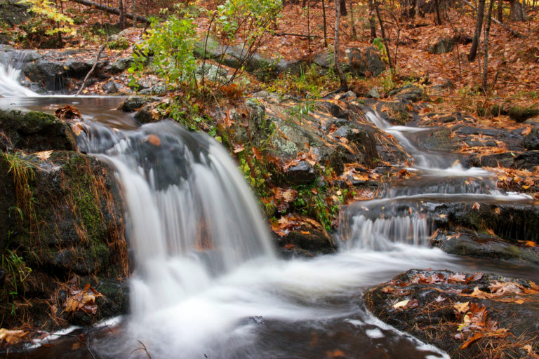 Rushing Autumn Waterfall