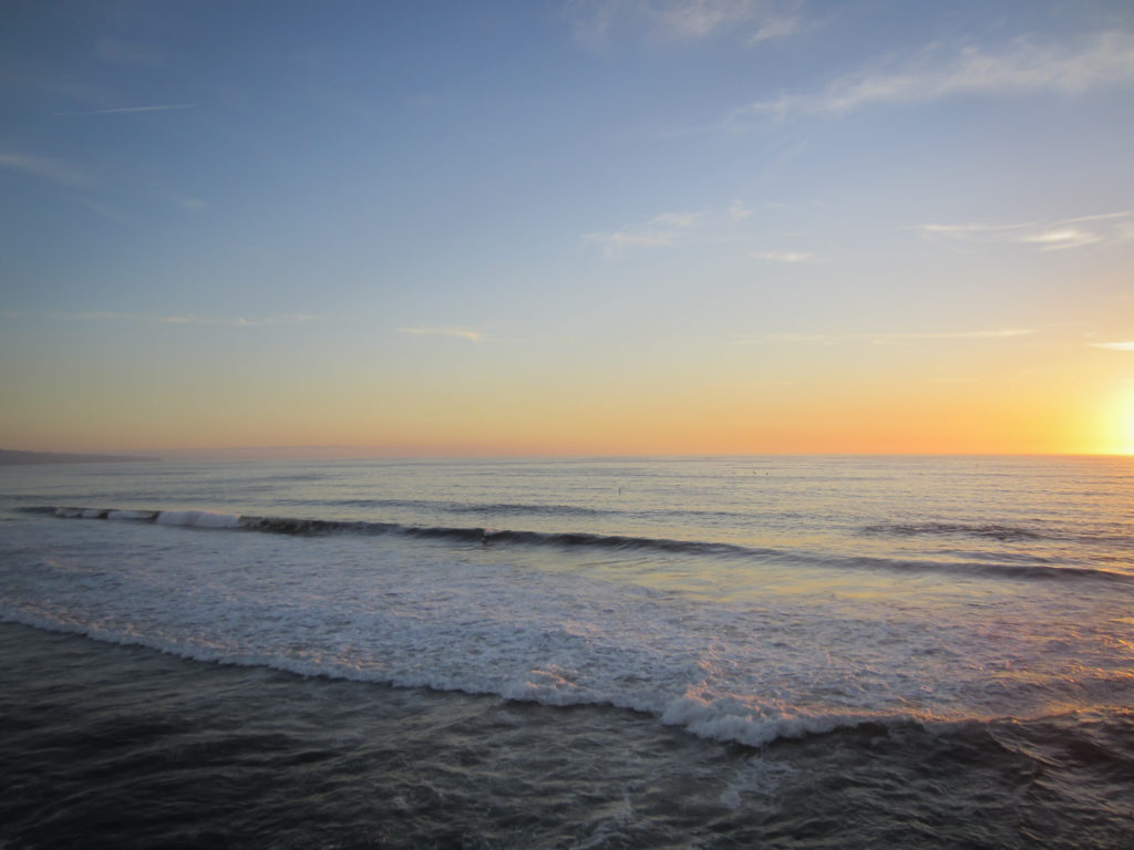 Ocean Waves and Sunset