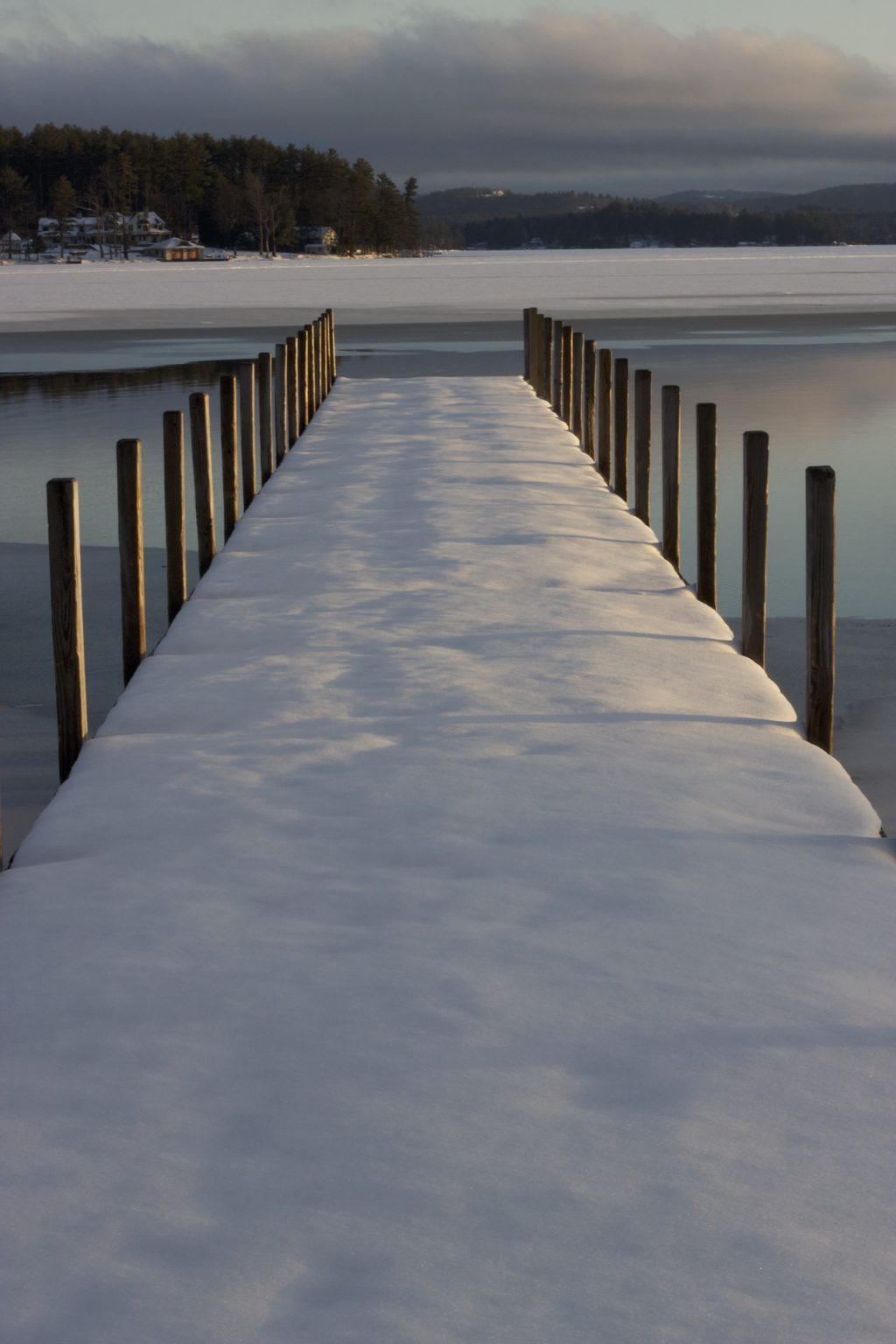 Snowy Dock by the Lake
