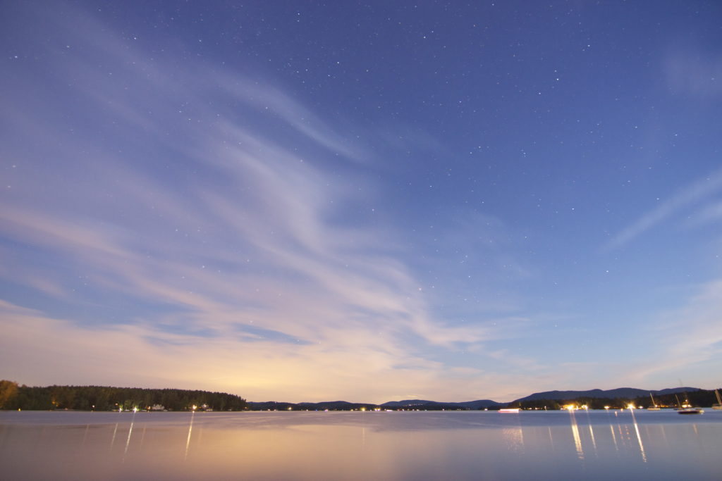 Colorful Night Sky and Lake Winds