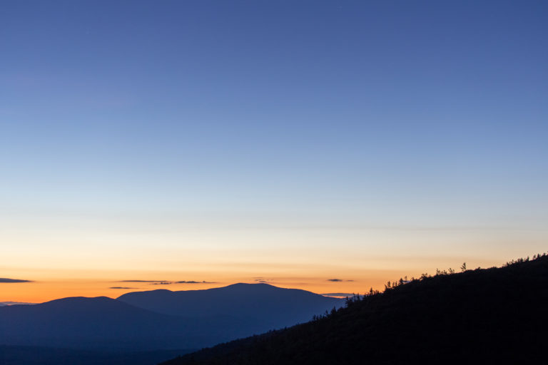 Blue Hour Sunset and Mountains
