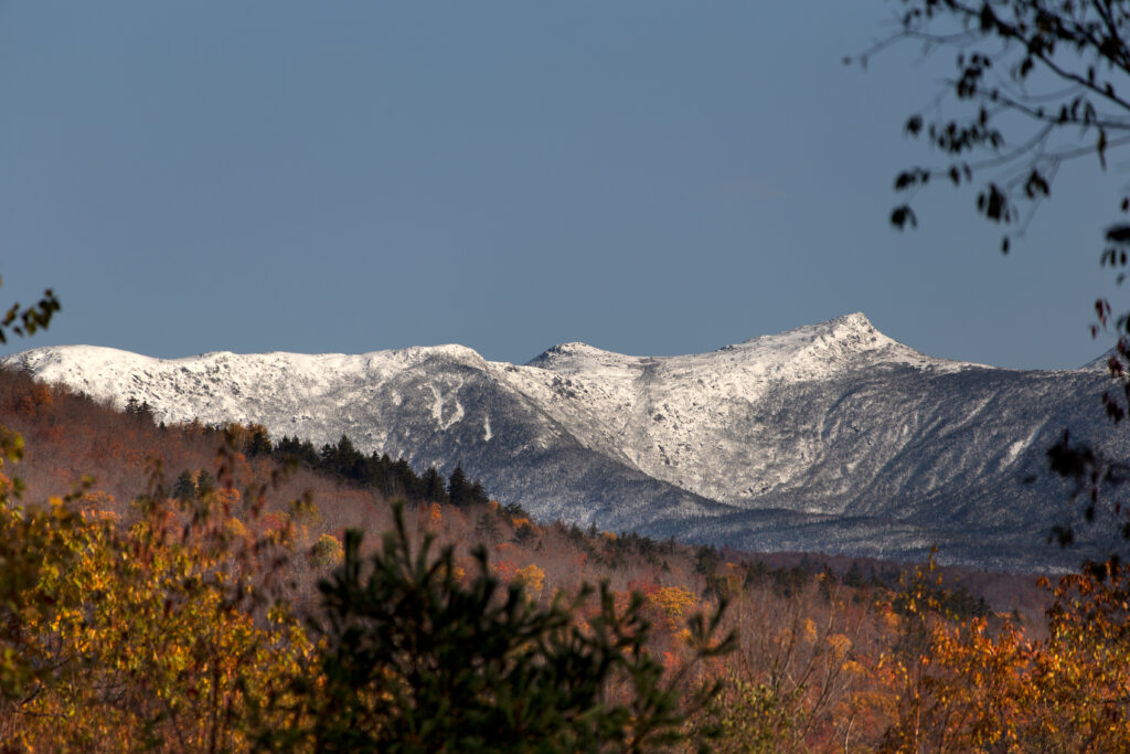 Snowy Mountain and Autumn Foliage