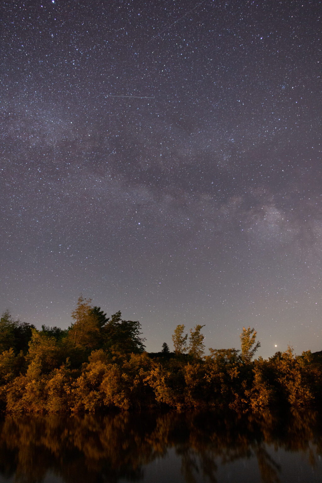 Milky Way Over Trees and Water