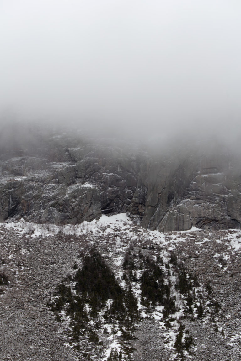 Foggy, Snowy Cliff