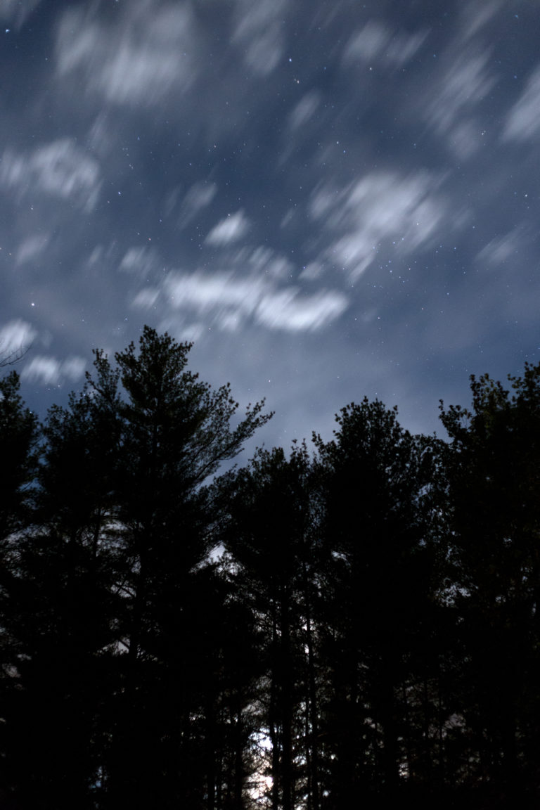 Moving Small Clouds Across Night Sky