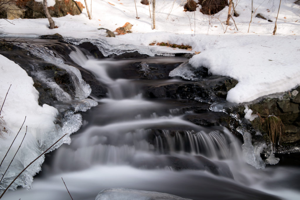 Cascading Icy Waterfall