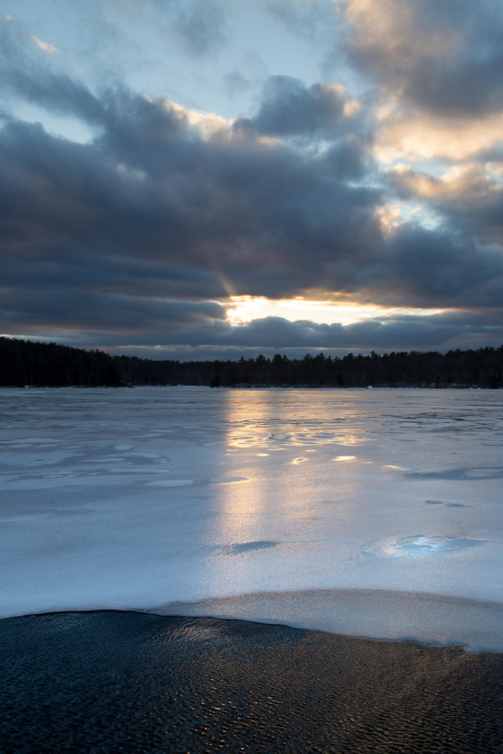 Sunlight Reflected on Icy Lake